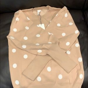 Polka dot tan sweater, from VICI dolls, size M